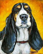 Dottie Prints - Tricolored Basset Hound on Gold Print by Dottie Dracos
