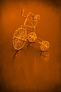 Tricycle Framed Prints - Tricycle in Orange Framed Print by Sophie Vigneault
