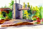 Norfolk; Painting Prints - Trident Training Facility Submarine Memorial Print by Suzanne  Frie