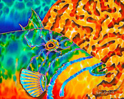 Fish Art Tapestries - Textiles Posters - Trigger and Brain Coral Poster by Daniel Jean-Baptiste