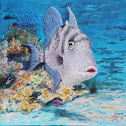 Triggerfish Painting Posters - Trigger Happy Poster by Charlotte Curran