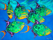 Triggerfish Print On Canvas Metal Prints - Triggers Metal Print by Daniel Jean-Baptiste