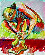 Yoga Painting Prints - Trilogy - N My Soul 3 Print by Charles M Williams