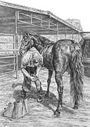 Shoe Drawings - Trim and Fit - Farrier with Horse Art Print by Kelli Swan