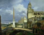 Villa Painting Metal Prints - Trinita dei Monti and the Villa Medici in Rome Metal Print by Francois Marius Granet