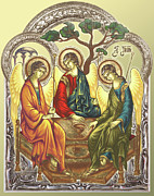 Byzantine Icon Prints - TRINITY after Rubliov Print by Iosif Ioan Chezan