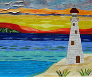 Sunset Glass Art Prints - Trinity Lighthouse On The Bay Of Paradise Print by Charles McDonell