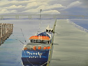 Trawler Painting Posters - Trinity Long Line Fishing Trawler at San Remo  Poster by Pamela  Meredith