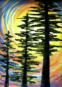 Cedars Paintings - Trinity by Pam Ellis