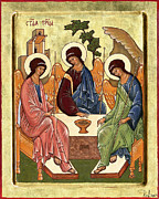 Holy Trinity Icon Painting Framed Prints - Trinity Framed Print by Raffaella Lunelli
