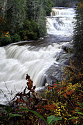 Fall Photographs Prints - Triple Falls  - NC Autumn Outdoors Print by Rob Travis