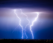 Lightning Weather Stock Images Framed Prints - Triple Lightning Framed Print by James Bo Insogna