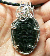 Grey Black Jewelry - Triple Loop Fossil Trilobite Pendant by Heather Jordan