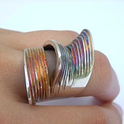 Sculptural Jewelry - Triple Oyster Ring by Teresa Arana