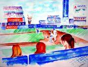 Mets Paintings - Triple Play at Shea by Sandy Ryan