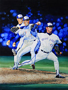  Baseball Art Painting Posters - Triple Play Poster by Hanne Lore Koehler