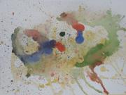 Pouring Paintings - Triple Rooster Race by Vicki  Housel