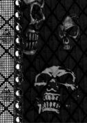 Creepy Digital Art Metal Prints - Triple Skulls Metal Print by Roseanne Jones