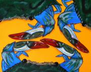 Blue Crab Framed Prints - Triplets Framed Print by JoAnn Wheeler