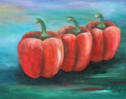 Vegetables Painting Prints - Triplets Print by Jutta Maria Pusl
