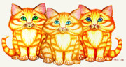Cute Kitten Drawings Prints - Triplets Print by Nick Gustafson