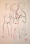 Voluptuous Drawings Prints - Tripple standing nude Print by Joanne Claxton