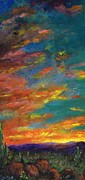 Sky Paintings - Triptych 1 Desert Sunset by Frances Marino