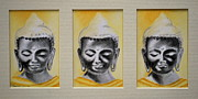 Buddhism Drawings Acrylic Prints - Triptych Buddha Acrylic Print by Lynn Hughes