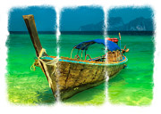 Thai Posters - Triptych Longboat Poster by Adrian Evans
