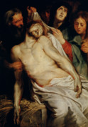 Mary Magdalene Metal Prints - Triptych of Christ on the Straw Metal Print by Rubens