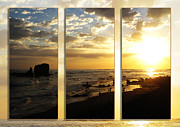 Cloud And Ocean Art Posters - Triptych Rock On Gold Poster by Stav Stavit Zagron