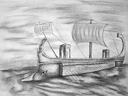 Oars Drawings Prints - Trireme Print by C nick Tuigsinn