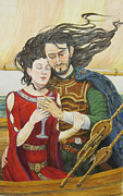 Camelot Painting Prints - Tristan and Isolde Print by Judy Riggenbach
