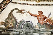 Sea Monster Mythology Prints - Triton And A Sea Creature, Roman Mosaic Print by Sheila Terry