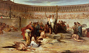 Ancient Rome Metal Prints - Triumph of Faith    Christian Martyrs in the Time of Nero Metal Print by Eugene Romain Thirion