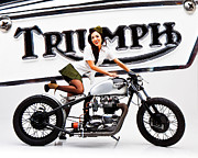 Triumph Framed Prints - Triumph Pin-up Framed Print by Dean Farrell