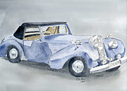 Car Drawings Prints - Triumph Roadster 45-49 Print by Eva Ason