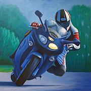 Motorcycle Paintings - Triumph Sprint - Franklin Canyon  by Brian  Commerford