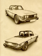 Sports Drawing Posters - Triumph Stag Poster by Michael Tompsett