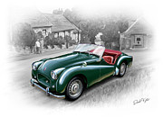 Sports Art Digital Art Prints - Triumph TR-2 Sports Car Print by David Kyte