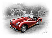 Sports Art Digital Art Prints - Triumph TR-2 Sports Car in Red Print by David Kyte
