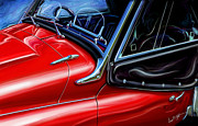 British Car Posters - Triumph TR-3 Sports Car Detail Poster by David Kyte