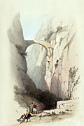 Holy Land Drawings - Triumphal arch across the ravine leading to Petra by Munir Alawi