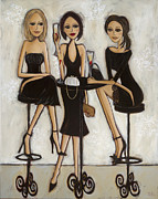 Champagne Painting Prints - Trois Petites Robes Noires - 3 Little Black Dresses Print by Denise Daffara