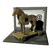 Sculpture Animal Posters - Trojan Horse, Computer Artwork Poster by Friedrich Saurer