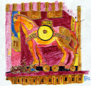 Troy Paintings - Trojan Horse by Phil Strang