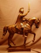 Warrior Sculptures - Trojan Warrior Mascot Statue Bronze Sculpture by Kim Corpany