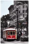 Vieux Carre Posters - Trolley on Bourbon and Canal  Poster by Tammy Wetzel