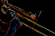 Trombone Digital Art Acrylic Prints - Trombone Acrylic Print by Bill