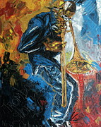 Trombone Paintings - Trombone Shorty by Wayne LE ONE